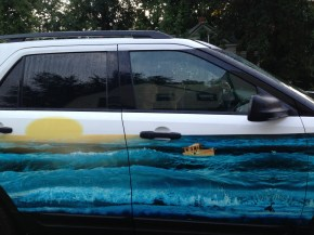 The most aptly ironic car art.