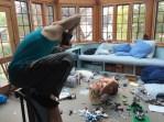 Posing amid Legos for Dr. Ken