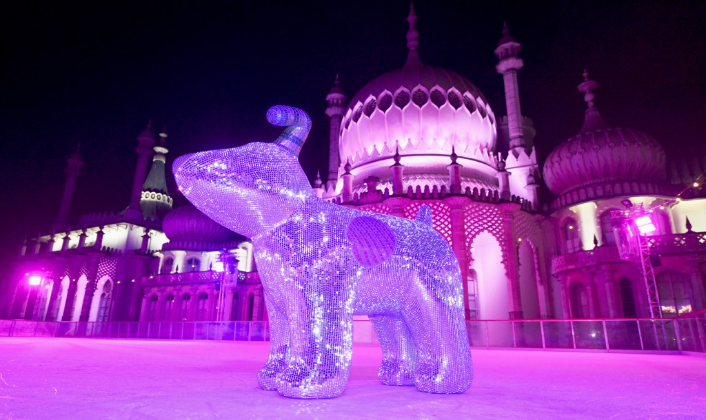 Snowdog on the ice at the launch party of the Martlets Snowdogs By The Sea campaign held at the Royal Pavilion Ice Rink Please Credit Simon Dack / Verve www.vervate.com tel 07973677017