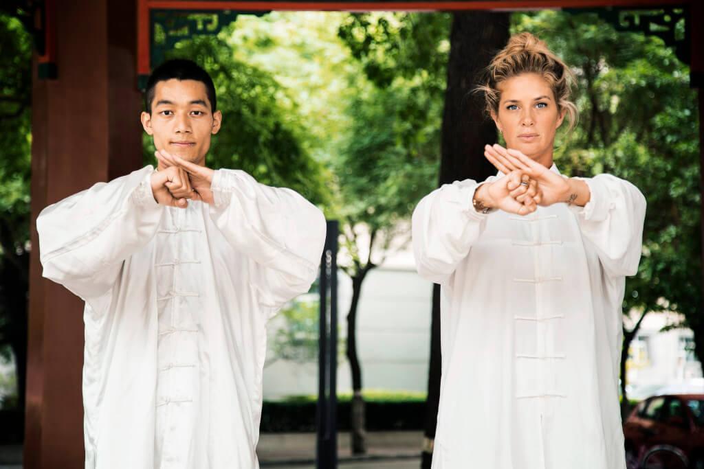 Rachel practises Kung Fu with a master. Beijing, China. (ep 6)