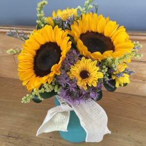 Garden Sunflowers In Mason Jar
