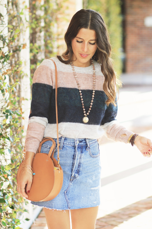 Striped Sweater Amp Denim Skirt VeryAllegra