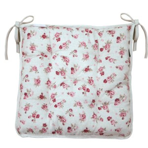 Soft chair cushion in red roses