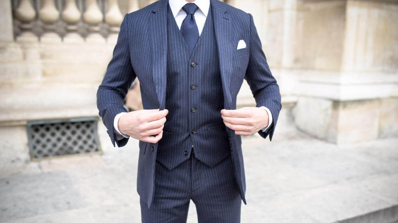 costume de fursac homme rayé bleu marine blanc