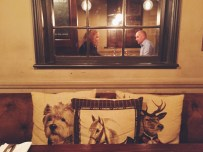 Cosy interior of the Punchbowl Pub in Mayfair, London.