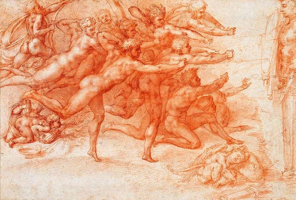 Сангина. Микеланджело. Рисунок «Стрелы лука перед гермой», XVI век