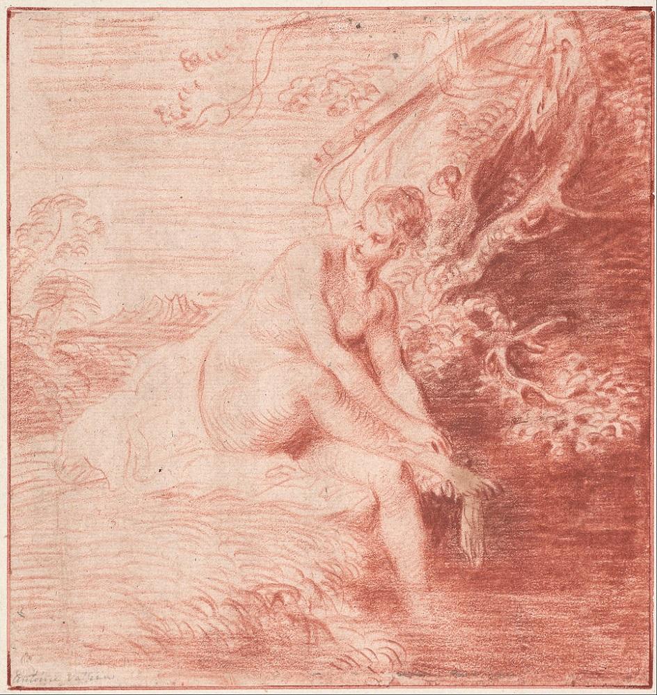 Сангина. Антуан Ватто. Рисунок «Купание Дианы», XVIII век