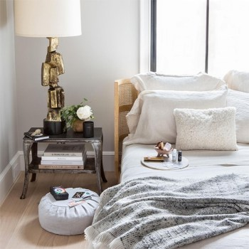 An eclectic and zen bedroom decor with different conscious brands found on Goop