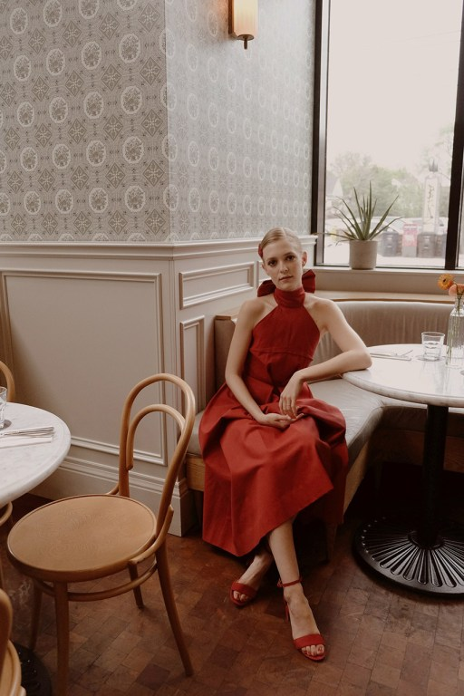 Joelle Paquette at Broadview Hotel before CAFA wearing Eliza Faulkner