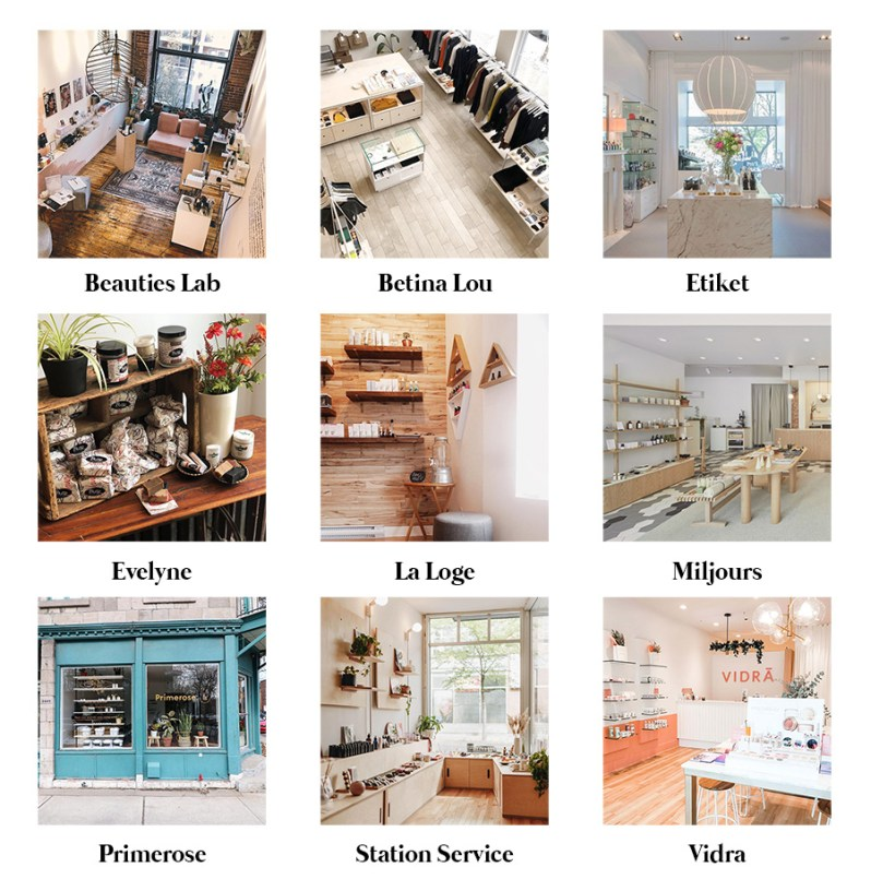 Directory of Montreal boutiques selling clean beauty products made in Quebec.