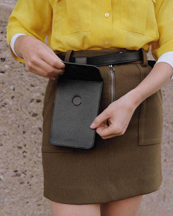 Close up of Pitti waist bag by ethical leather handbag company Wearshop