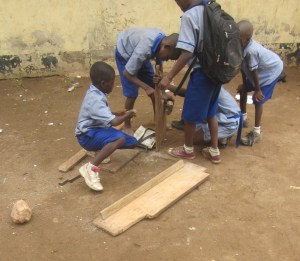 Pupils joining pieces of wood to make chairs (3)