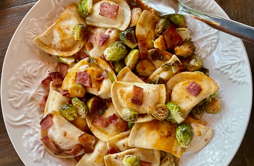 Pierogies with Bacon and Brussels Sprouts