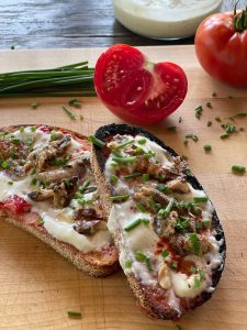 Tomato Bread with Smoked Olive Oil-Lemon Ricotta and Sardines