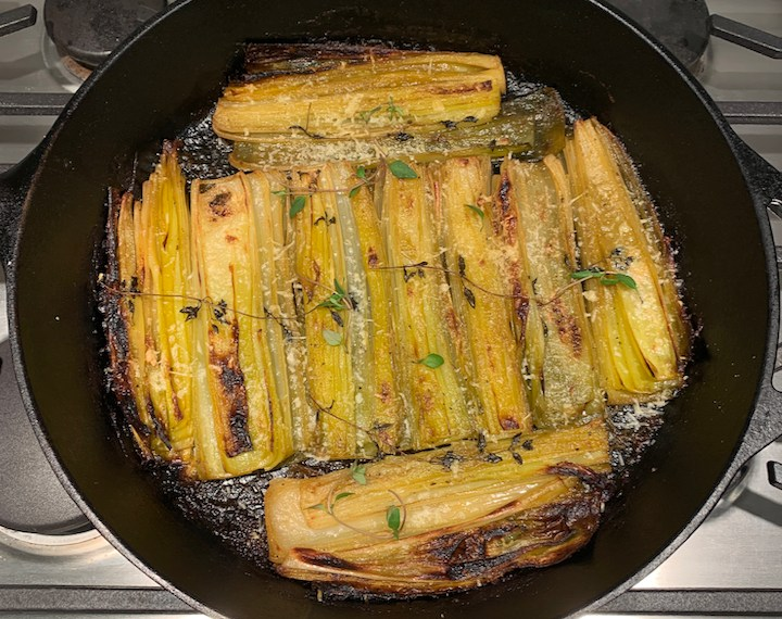 Butter Braised Leeks with Parmesan and Thyme