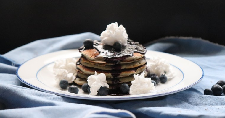 Pinole Pancakes with Blueberry Maple Syrup