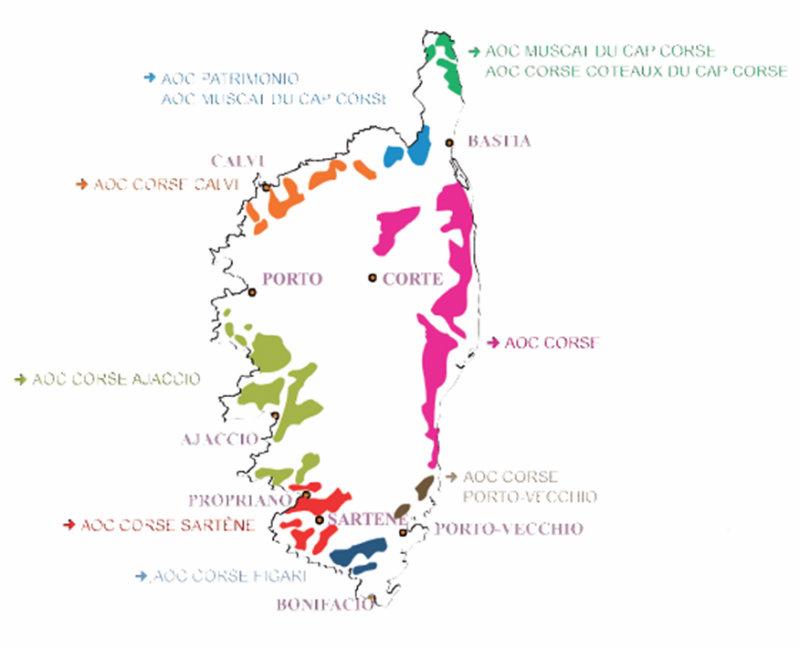 Carte appellations des vins de Corse