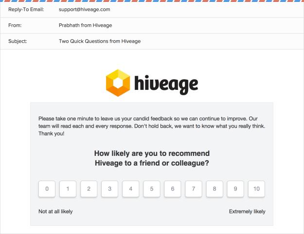 Hiveage NPS survey email