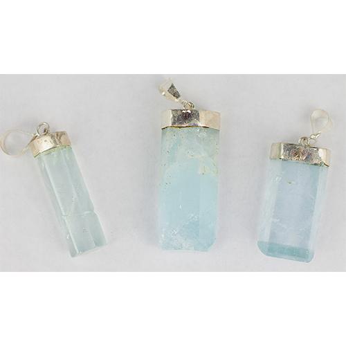 aquamarine pillar pendants Aquamarine, Pendants, Natural Pillars, Translucent, Himalayan Vesica Institute for Holistic Studies