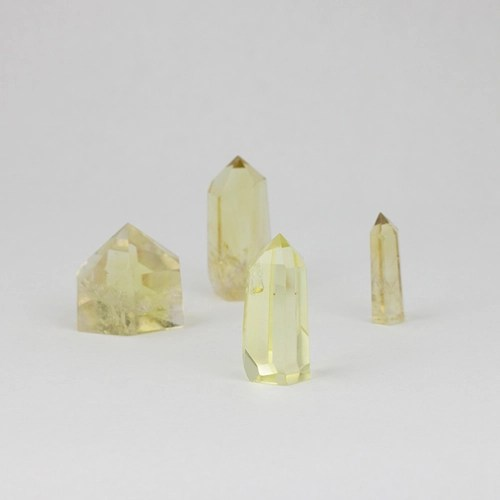 citrine 10 Citrine, Lemon-Lime, Small Polished Standing points Vesica Institute for Holistic Studies