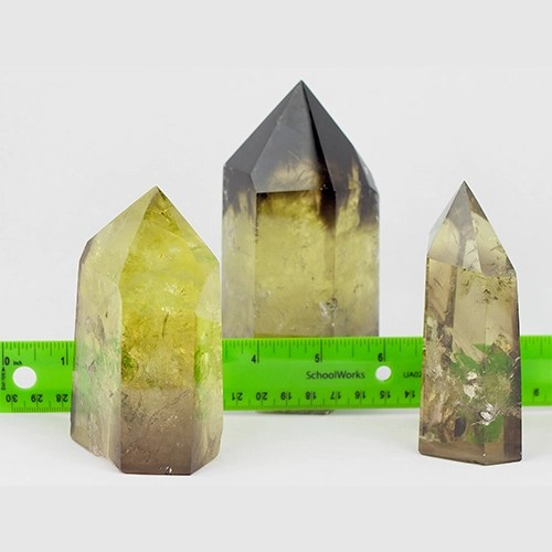 lemon lime citrine standing pts regular and smoky with ruler Citrine, Smoky, Lemon-Lime, Medium Polished Standing points Vesica Institute for Holistic Studies