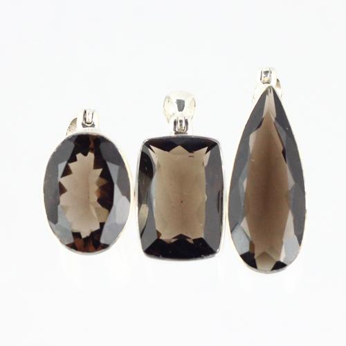 smokey quartz pendant 3 Quartz, Smoky, Pendant, Faceted Edge, Assorted Shape Vesica Institute for Holistic Studies