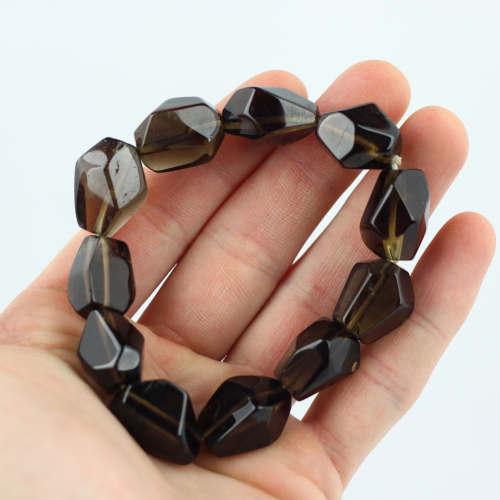 smoky quartz faceted bracelet 1 Quartz, Smoky, Faceted, Bracelets Vesica Institute for Holistic Studies