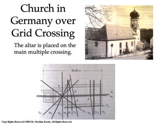 Church in Germany over grid crossing BioGeometry, the Science of Balancing Living Systems: A Special Presentation introducing the Inner School of BioGeometry Vesica Institute for Holistic Studies