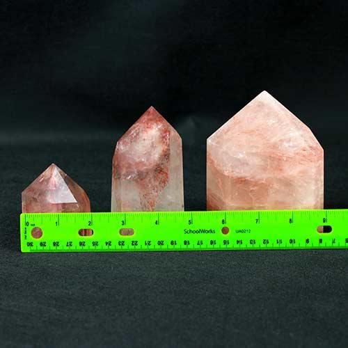 Iron Rose Quartz points 2 Quartz, Iron Rose, Polished Standing Points Vesica Institute for Holistic Studies