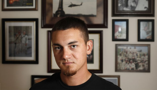 Iraq War veteran Steven Acheson at his home in Platteville, Wis. Photo by M.P. KING — State Journal.