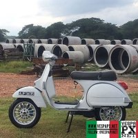 "Vespa PX with 12"" Vespa Sprint alloys velg wheels , Vespa Malaysia @vesparudin.my"