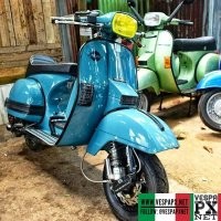 Shiny light blue Vespa PX custom  @vesparacingfashion