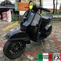 Black Vespa PX custom modified with custom wheels  @angga_badger