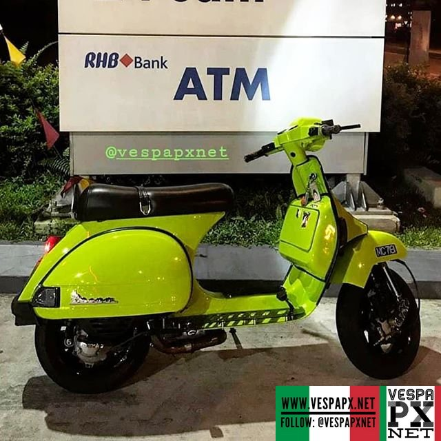 green custom modified vespa px racer style nellynaly