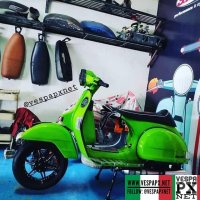 Green Vespa PX caferacer custom modified racing style with custom wheels @azuan.khairull