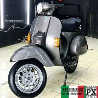 Grey Vespa PX custom modified with custom wheel . hashtag and mention @vespapxnet for feature repost @candrascootergarage