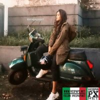 Vespa girl on green Vespa excel T5 . hashtag and mention @vespapxnet for feature repost @rzenitta