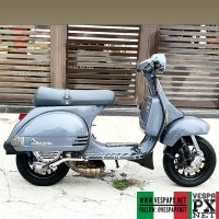 Light grey Vespa PX custom modified with Vespa sprint wheel . hashtag and mention @vespapxnet for feature repost @azrad_key