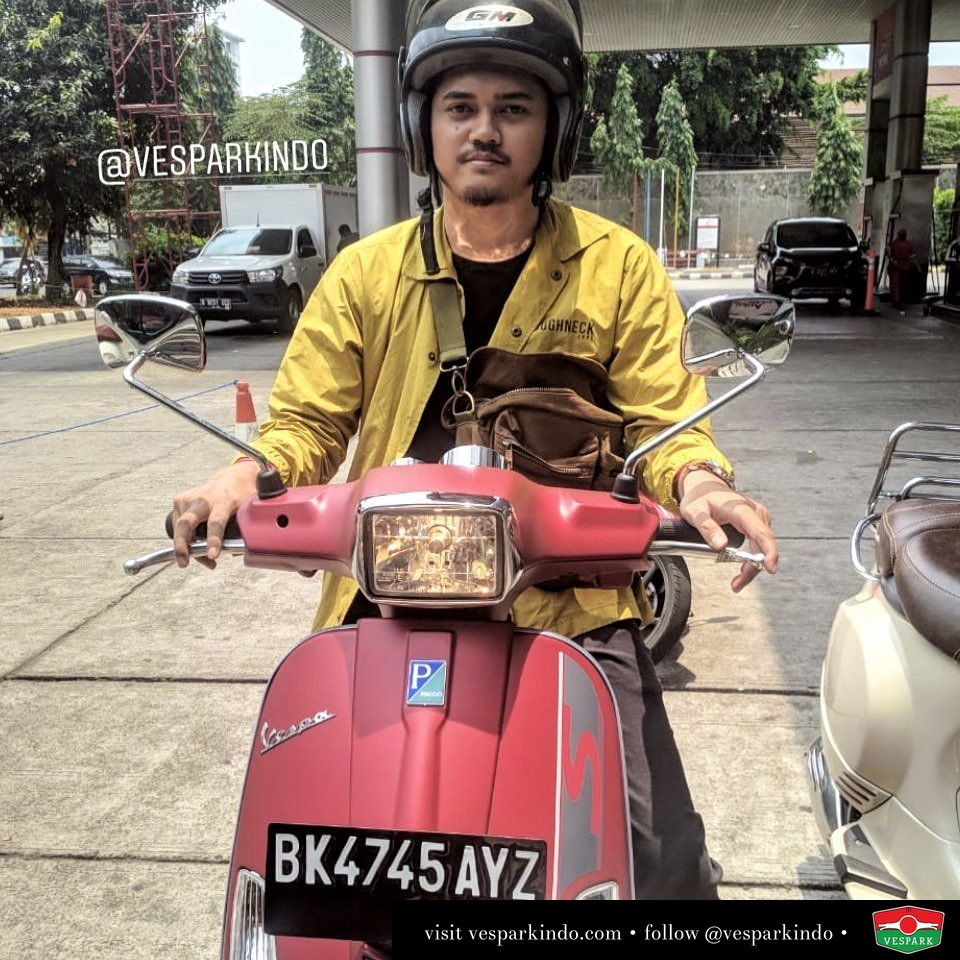 Delivery new Vespa S 125cc i-get, Red Matt, welcome Muhammad Iqbal to Vespark family BK to Jakarta