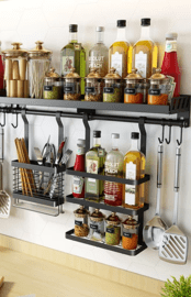 hanging rail system with accessories to store condiments