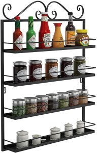 metal rack for condiment and spice storage