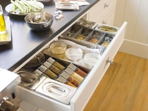 upper drawer with dividers for spices and condiments