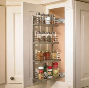 chrome condiment rollout for upper cabinet