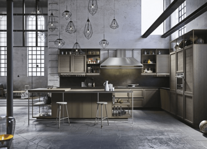 Industrial kitchen design is the edgiest decor style that makes the top kitchen decor style list. It is a substantial look that has roots in commercial kitchens, Great in a large space.