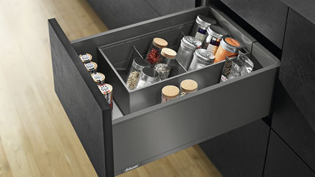 deep drawer with divider and angled insert for spices