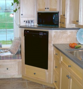 dishwasher raised and placed in cabinetry with drawer below