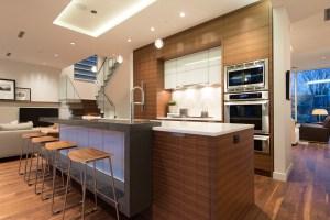 modern kitchen with horizontal grained door