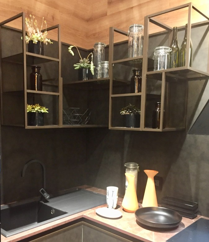 corner kitchen shelving made from metal and glass