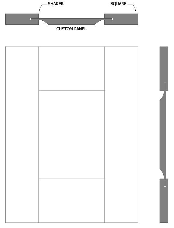 line drawing of Bowyer shaker door style