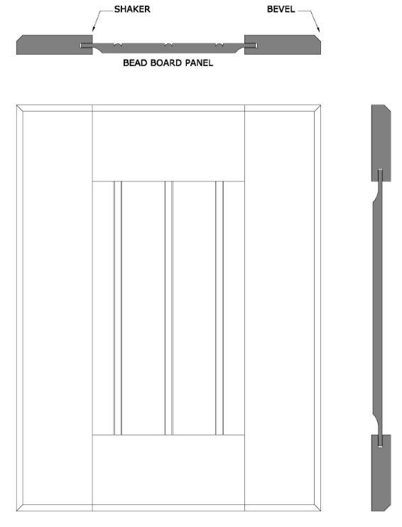 line drawing of Sonora Shaker door style